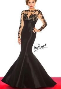 Mac Duggal illusion sleeve mermaid pageant dress 6